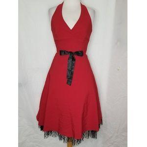 Vintage Inspired Red Kiki Dress w/ slight petticoa